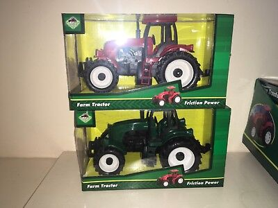 "Red And Green Plastic 6"" Friction Toy Farm Tractors New Boxed"