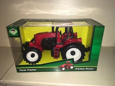 "Red Plastic 6"" Friction Toy Farm Tractors New Boxed"