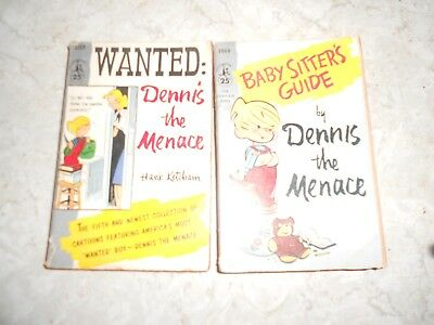 Dennis the Menace books, lot of 2 vintage 1960 editions Wanted and Baby Sitter's