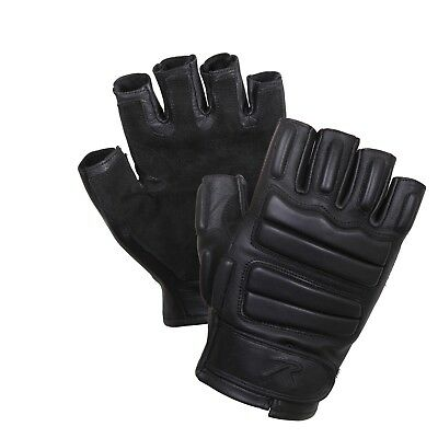 Padded Tactical Fingerless Gloves Impact Protection Black Rothco 2817