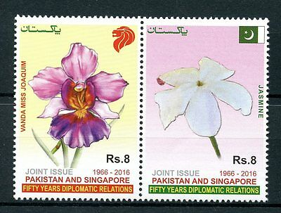 Pakistan 2016 MNH Diplomatic Rel JIS Singapore 2v Set Flowers Orchids Stamps
