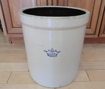 Vintage 5 Gallon Cobalt Blue Crown Glazed Stoneware Crock Pot Vintage Pottery US