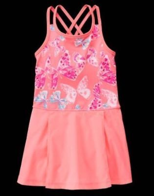 NWT Gymboree Girl Dress Gymgo Active Butterfly dress shorts neon coral S,M,L