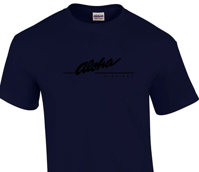 Aloha Airlines Black Retro Logo Shirt Hawaiian Airline Navy Blue T-Shirt S-5XL