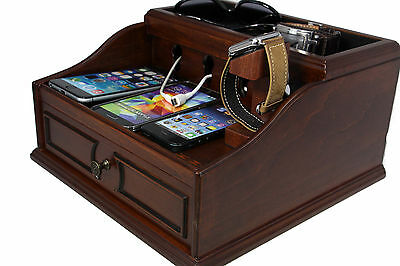 Wooden Multi Device Charging Station and Cord Organizer for Smartphones (Pecan)