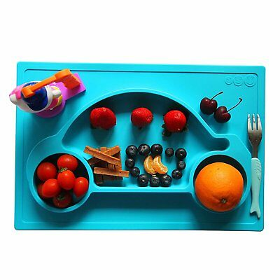 Silicone Mat Baby Kids Suction Table Food Tray Placemat Plate Galaxy