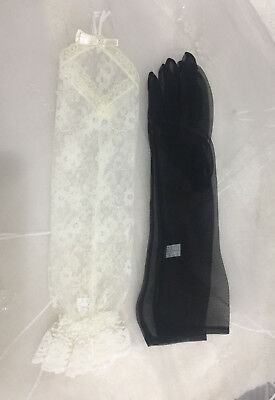 "15"" Lace-Sheer  Organza  Glove For Adult. Pick Your Color !"