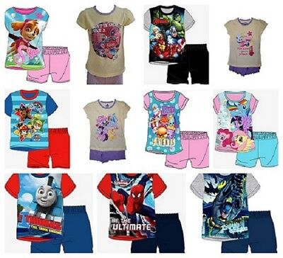Girls Kids Baby Toddler Character Pyjamas Pjs Short Sleeve T-Shirt Short Set New