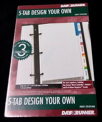 """Day Runner 5 Tab Design Your Own Organizer 3 Ring 5.5"""" x 8.5"""" - 00425 021-0600"""
