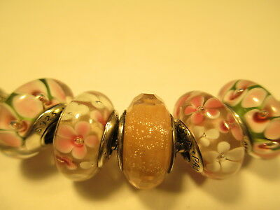 5 Pandora Silver 925 Ale Pink Shimmer White Pink Daisy Flower Glass Beads Charms
