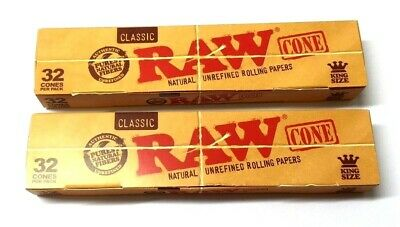 RAW Classic King Size Cones Mega Pack of 32 Pre Rolled Rolling Cone Papers