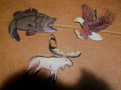 Metal MOOSE BASS fish EAGLE ornament accent lodge country wall decor sign 3 pc