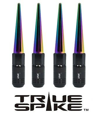 16 True Spike 121Mm 12X1.5 Steel Tuner Lug Nuts W/ Neo Chrome Extended Spikes B
