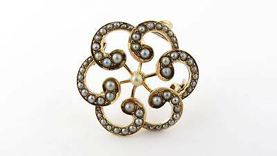 Vintage 14k Yellow Gold and Seed Pearl Brooch Pendant #818