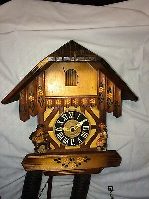 Antique German Coo Coo Clock 11 Inch Works Great Don't Miss See Pix