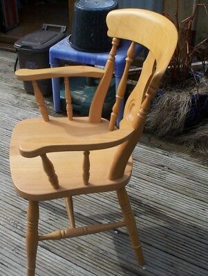 Solid Beech Yorkshire Fiddle Back Carver Chairs Farmhouse Wooden