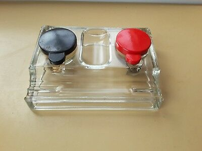Vintage Old Glass Ink-Well Heavy Ink Well Desk Bakelite Lids Office Desk