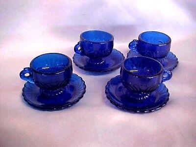 Mosser Glass Child Heirloom Mini Miniature Lindsey Cobalt Caprice Cup Saucers