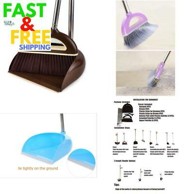 Long Handled Dustpan And Brush Broom Stainless Steel Adjustable Cleaning Brown
