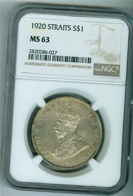 Straits Settlements 1920 Dollar King George V Ngc Ms-63 Bu
