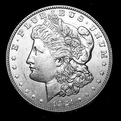1921 D ~**ABOUT UNCIRCULATED AU**~ Silver Morgan Dollar Rare US Old Coin! #63