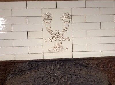 COMPLETE SET VINTAGE VICTORIAN ANTIQUE FIREPLACE TILE MANTLE SURROUND White