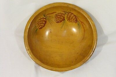 VTG Munising Wood Bowl Large 11'' Rare Birds Eye Maple Hand Painted 1911-1955.