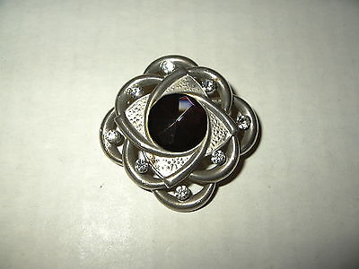 Vintage Art Deco Silvertone Clear Rhinestone & Black Stone Mourning Brooch Pin