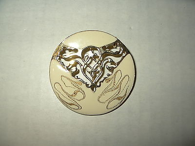 Vintage Cream Colored Enamel & Goldtone Abstract Modernist Round Brooch Pin