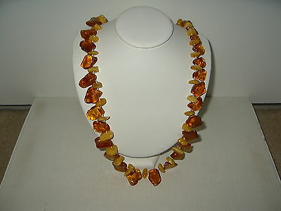 "Vintage 27"" Chunky Honey & Egg Yolk Baltic AMBER Hand Knotted Necklace 74 Grams"