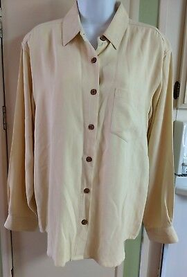 3bb6e55bdf4f3a Tommy Bahama Women s M Silk Long Sleeve Button Up Shirt Blouse Yellow