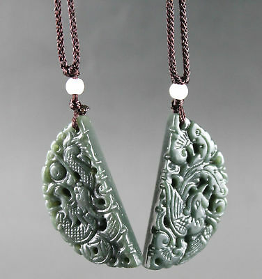 A pair of lover's ancient Chinese jade hand-carved dragon and phoenix pendant