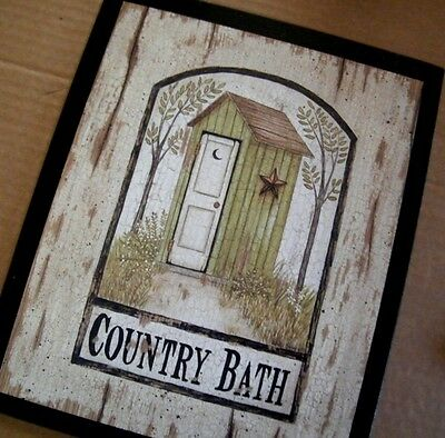 """9x11"""" Wooden Green Outhouse Country Bath Bathroom powder room Home Decor Sign"""