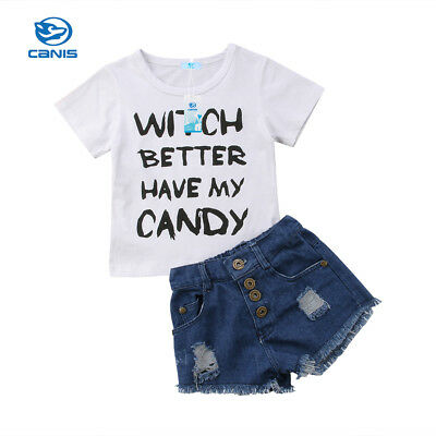 USA Stock Kids Baby Girls Toddler Cotton T-shirt Tops Clothes+Short Pants Outfit