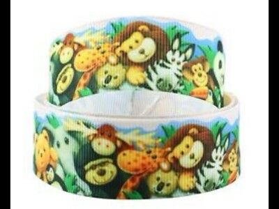 Jungle Animals 25mm Grosgrain Ribbon 3 Meter Length Hair Bows Craft Sewing