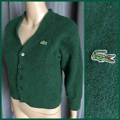VINTAGE Alligator Green CHEMISE LACOSTE CARDIGAN Pure Wool
