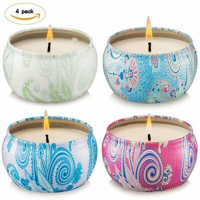 Scented Candles 4 Pack Gift Set - Vanilla,Lemongrass,Lavender and Rose, 100% ...