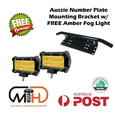 Number Plate Frame Bull Bar Mount Bracket Driving LED Light Bar Holder Fog Front