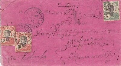 ROW48) Indochina 1915 small commercial Cover to India, via Ceylon