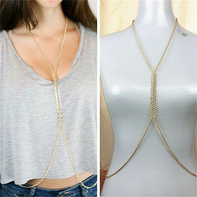 Womens Gold Fishbone Tassel Crossover Waist Belly Harness Body Chain Necklace