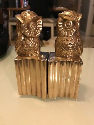 Vintage Pair of Heavy Cast Brass OWL Book Ends EXCELLENT CONDITION!