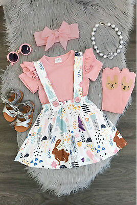 US Stock Newborn Baby Girls T-shirt Tops Dress Outfit Set Toddler Casual Dresses