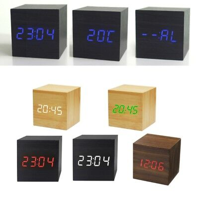 Cube LED Wooden Clock Alarm Sound Control Square Table Digital Thermometer Clock