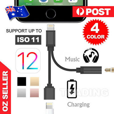 2in1 Lightning to 3.5mm Aux Earphone Jack Charger Adapter For iPhone 7 iPhone 8
