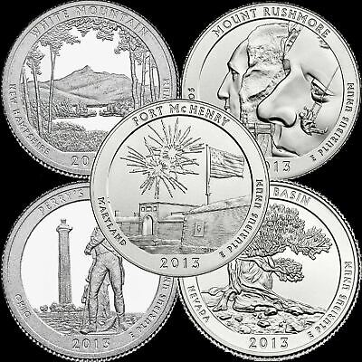 "A COMPLETE 2013 Five Coin ""BU"" National Parks US Quarter Set ATB Series"