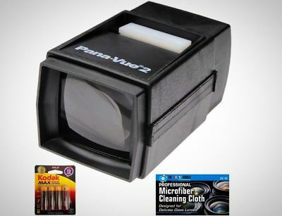 Pana-Vue 2 Illuminated Slide Viewer AA Batteries MicroFiber Cleaning Cloth New