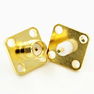 10Stk SMA Female Connector Buchse Jack 4-hole 12.7mm Flange PTFE Panel Mount