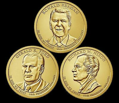 "A 2016 Presidential Dollar THREE (3) Coin Set ""Brilliant Uncirculated"" COINS"