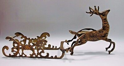 Vintage Reindeer and Detachable Sleigh Christmas Decoration Solid Brass EUC GIFT
