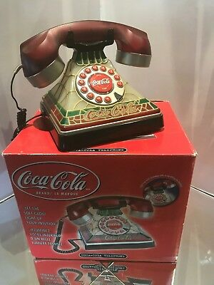 """COCA COLA VINTAGE telephone,Stained glass looking phone """"new"""" in orig Box 2001"""
